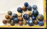Coll.Of 25 Natural Earth Tone Civil War Era Clay Marbles & Blue Benningtons