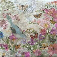 2 Paper Napkins Decoupage Secret Garden Bluebird Floral Luncheon Craft Punch