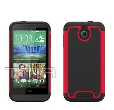 Fits HTC Desire 510 Case Hybrid Impact Shockproof Rugged Rubber Cover - Hot Pink