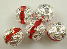 8mm 5pcs Czech ruby Crystal Rhinestone Silver Rondelle Spacer Beads jysa