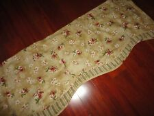WAVERLY FLORAL STRIPE VALANCE FONTANELLE ANTIQUE GOLD RED GREEN 15 X 74""