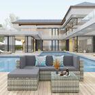 Yitahome 5 Piece Outdoor Garden Patio Furniture Set Rattan Wicker Sofa Cushioned
