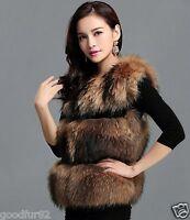 GOODFUR  New Real 100% Raccoon Fur Women Vest Waistcoat Sleeveless Garment Gilet