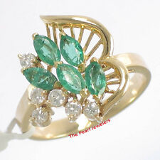 18k Yellow Solid Gold Genuine Diamond, Green Marquise Emerald Cocktail Ring TPJ