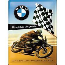 PLAQUE EN METAL EMAILLEE NEUVE 30 X 40 cm :BMW MOTO LA PLUS RAPIDE DU MONDE
