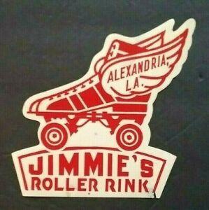 "VINTAGE 1950'S  ROLLER RINK DECAL LABEL STICKER ""JIMMIE'S"" ALEXANDRIA LA SKATING"