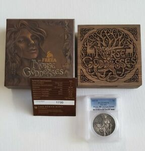 Freya -2017 Tuvalu Norse Goddesses, 2oz High Relief Antiqued Silver - PCGS PR70