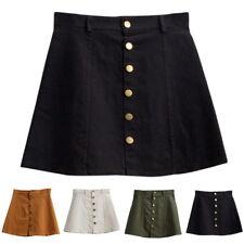 Women A-line Jeans Front Button High Waist Denim Dress Slim Casual Skirt SML AU