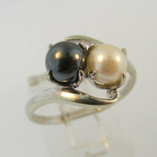 10k White Gold Pearl and Hematite Bead Ring Size 7