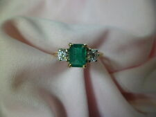 ladies 14k yellow gold emerald and diamond ring size 7 1/2