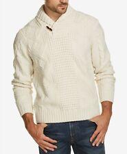 $158 Weatherproof Vintage Men'S Beige Shawl Collar Knitted Sweater Long Sleeve S
