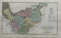 1808 Cheshire Original Antique Hand Coloured County Map 212 Years Old