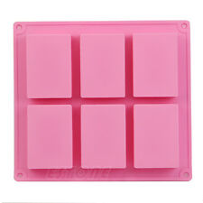 1 Pc 6-Cavity Plain Rectangle Soap Mold Silicone DIY Cake Making Mould Cool
