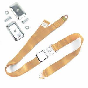 2 Pt. Peach Airplane Buckle Lap Seat Belt w/ Flat Plate Hardware v8 rat
