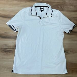 Banana Republic Mens Polo Shirt Luxury Touch Large Standard Fit White Black