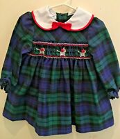 VTG Polly Flinders 2T Hand Smocked Green Plaid long sleeve Girls Dress 3 kittens