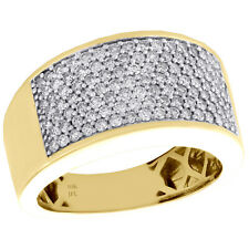 10K Yellow Gold Mens Round Diamond Wedding Band 12mm Pave Pinky Ring 1.25 CT.