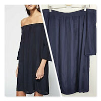[ WITCHERY ] Womens Off shoulder Embroidered Navy Dress | Size AU 14 or US 10