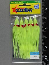 "Gold Star 4 1/4"" Yamashita Squid Skirts  #35 Chartreuse 5 Pack Hoochie 1080-0053"