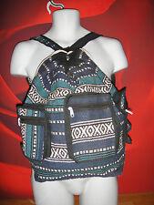 Aztec Ethnic Hippy Black  shoulder tote bag backpack festival