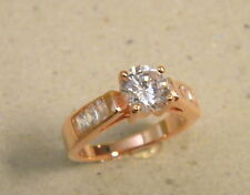 Lady's Engamenent Band Rose Pink Tone Gold Plated Ring Princess Cut New size 7.5