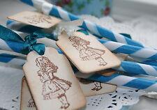 ALICE IN WONDERLAND RETRO PAPER STRAWS-ALICE TAGS-Tea Party-Wedding-Blue & White