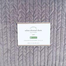 "Pottery Barn Velvet Channel Sham Euro Lavender Purple New 26"" X 26"" 100% Cotton"