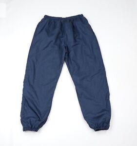 Vintage 90s Streetwear Mens Large Blank Lined Nylon Joggers Jogger Pants Navy
