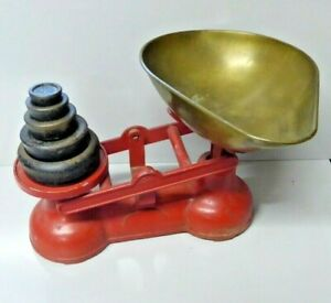 Original vintage Salter scales kitchen weighing scales & set of imperial weights