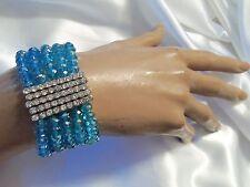 SKY BLUE Aurora Borealis Crystal Silvertone/Rhinestone Stretch Bracelet LA2B216
