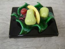Black Ceramic Trinket Box with Various Fruits on Lid