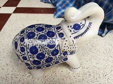7'' White Marble Elephant Trunk Up Lapis Lazuli Floral Inlay Marquetry Decor