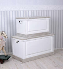 Two Chests Boxes Coffers Linen with Lid Country Style Wooden Bench White