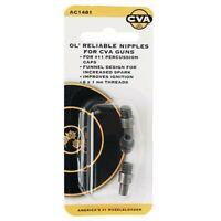 CVA AC1481 Black Steel Ol' Reliable Replacement 6X1mm Thread Gun Nipples 3 Pack