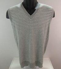 J.Crew Men's Gray White Striped V-Neck Sweater Vest 100% Cotton Size L
