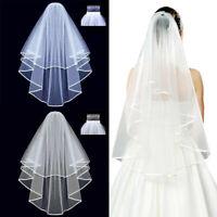 Women Lady White Bride Bridal Prop Wedding Veil Head Hair Accessory New