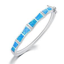 Delicate Blue Fire Opal Zircon Silver for Women Jewelry Bangle Bracelet OS476