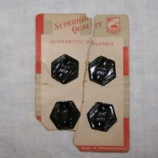 4-VINTAGE CZECHOSLOVAKIA BLACK MOLDED GLASS BUTTONS-CLOTHING-SEW-ART-CRAFT