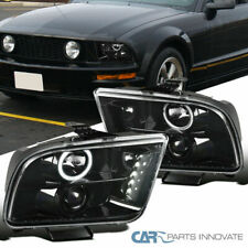 Ford 05-09 Mustang Pearl Black LED Halo Projector Headlights Head Lamps Pair