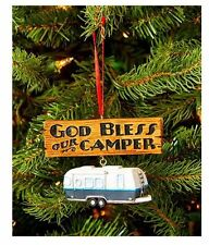God Bless Our Camper RV Trailer Christmas Ornament