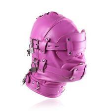 Hot Pink Kunstleder Maske Mask Hood Mouth Gag Gimp Erotik Bondage BDSM UA648