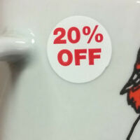 """1000 Self-Adhesive 20% Off Round Retail Labels 3/4"""" Stickers Tags - Dot Stickers"""