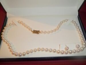 "MIKIMOTO Sea Magic 18"" Cultured Pearl Necklace & Earrings 14K Gold 585 W/BOX"