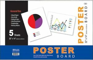 """BAZIC Products 22"""" X 14"""" White Poster Board (5/Pack) - Strong and Smooth"""