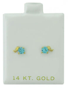 AQUAMARINE 0.54 Cts STUD EARRINGS 14k YELLOW GOLD * Screw Backs * NEW WITH TAG *