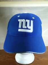 New York NY Embroidered  Strapback Cap Hat Curved Brim white on blue