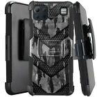 Holster Case For LG K92 5G (2020) Hybrid Kickstand Phone Cover - GRAY CAMO BADGE