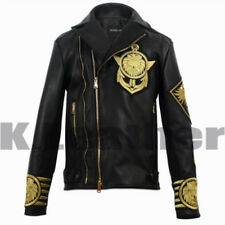 New Balmain H&M Ebroidery Patches Golden Black  Brando Style Leather Jacket