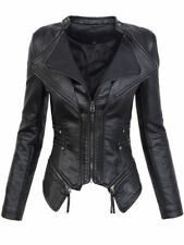 Gothic Faux Leather Jacket Women Winter Autumn Fashion Motorcycle Black Jacket