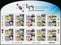 Korea Süd 2015 Korea-Krieg Kriegshelden Militär Soldaten 3074-83 Kleinbogen MNH